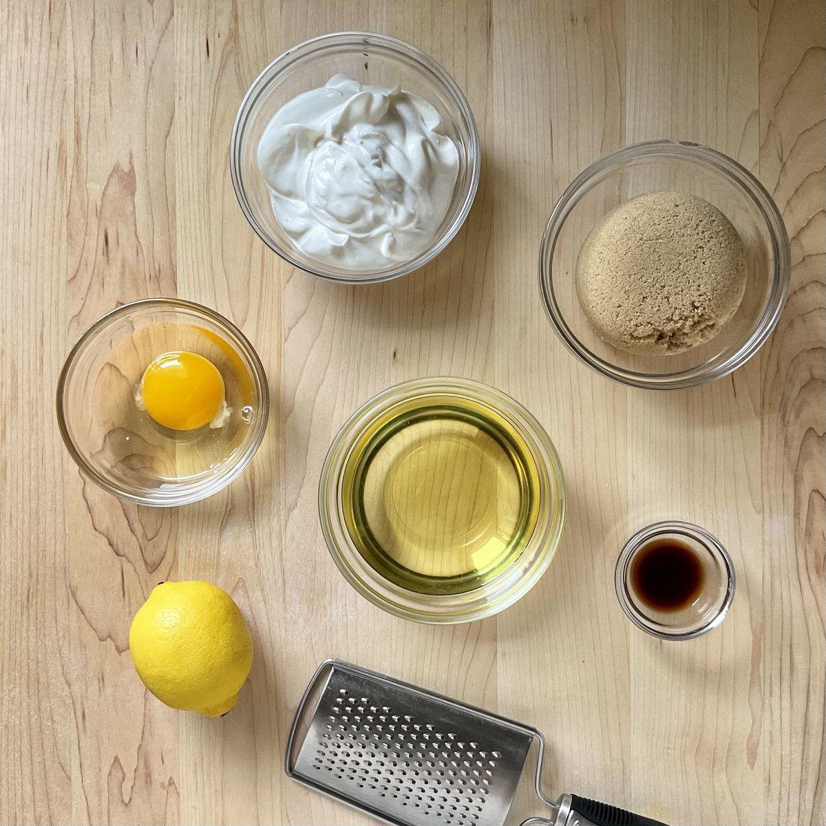 Wet ingredients in separate bowls.