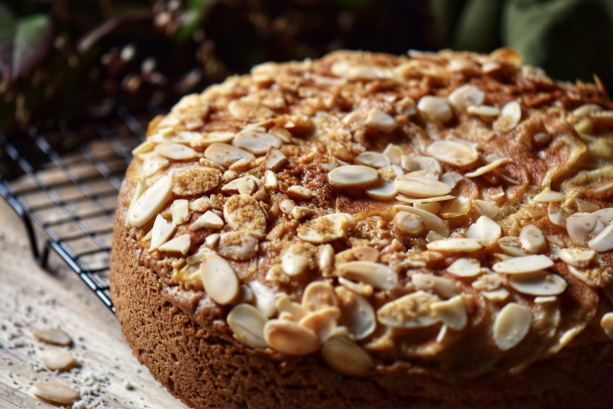 A close up of the streusel topping with sliced almonds.