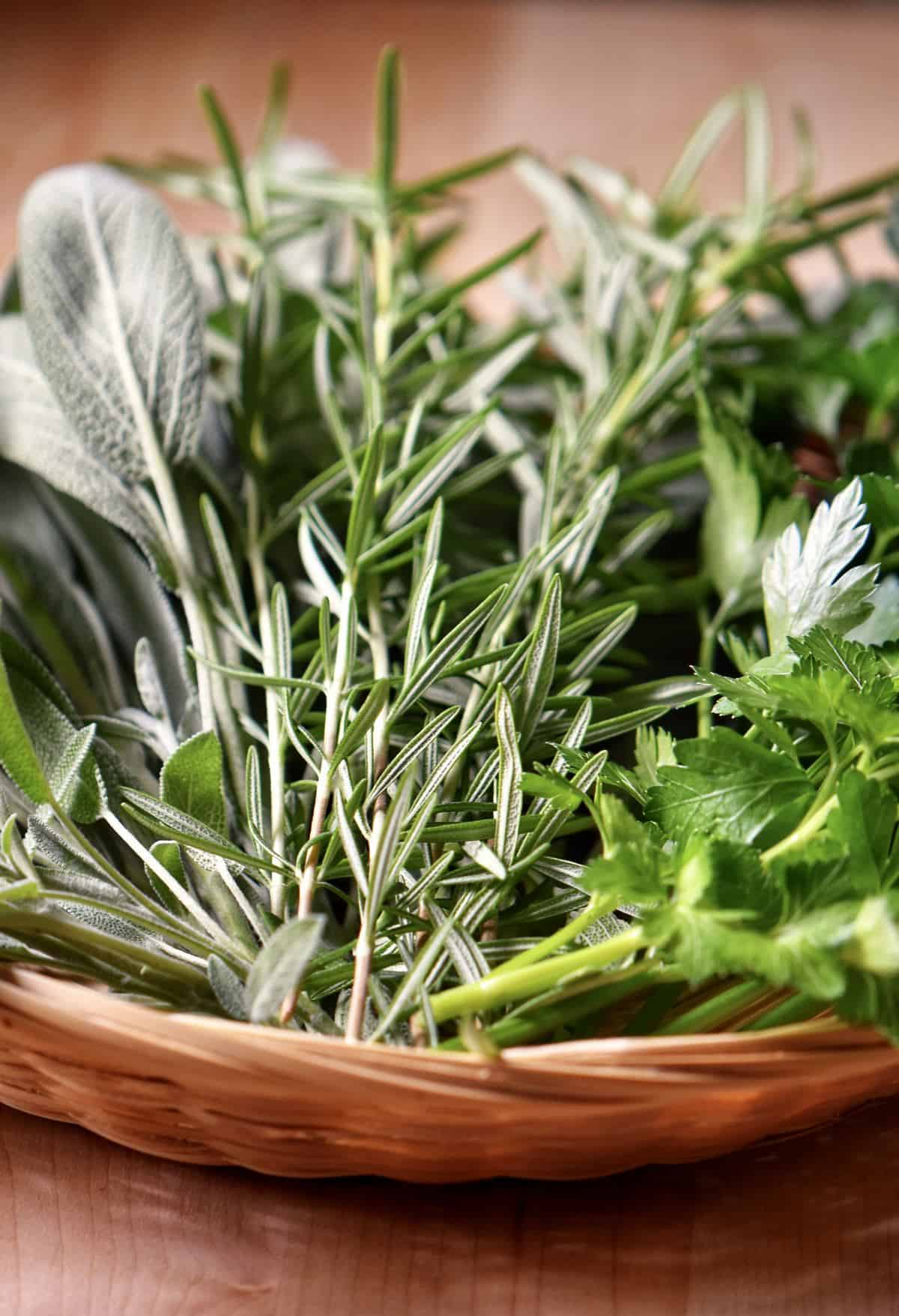 A basket of fresh herbs including rosemary, sage and parsley.