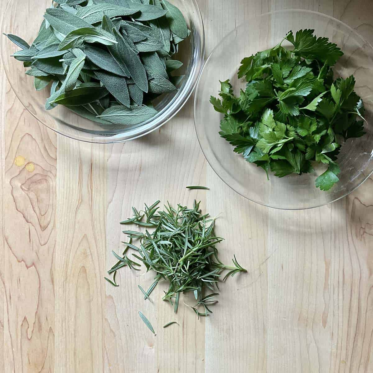 Fresh herb leaves without stalks.